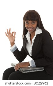Young black female student giving the ok sign everything is perfect