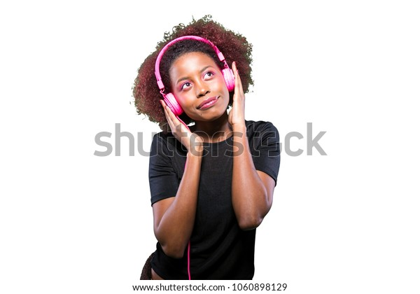 young black girl with music headphones