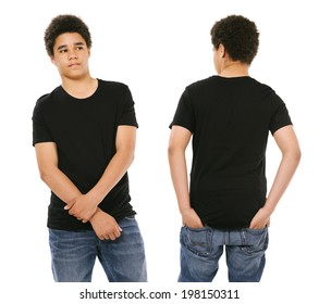 Young black male with blank black t-shirt, front and back. Ready for your design or artwork.