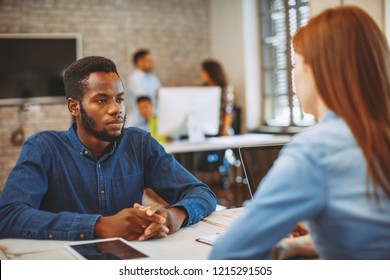 Young black man in a job interview