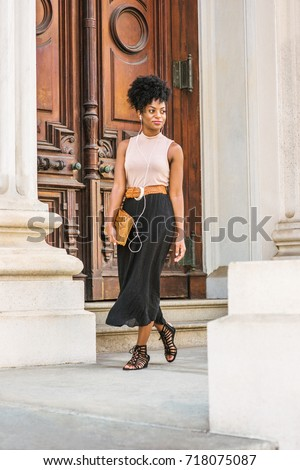 Young Black Woman Afro Hairstyle Wearing Stock Photo Edit Now