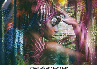 young black woman fantasy portrait profile double exposure