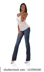 Young Black woman posing wearing jeans isolated on a white background