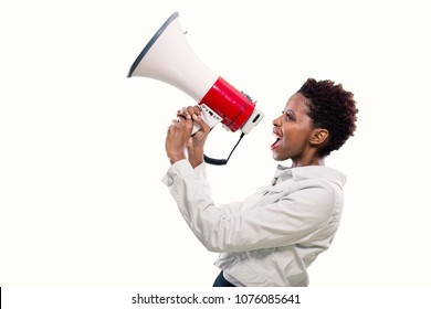 young black woman shouting on the megaphone