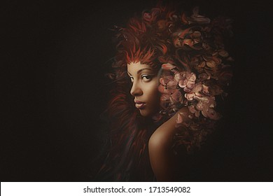 young black woman surreal portrait composite photo