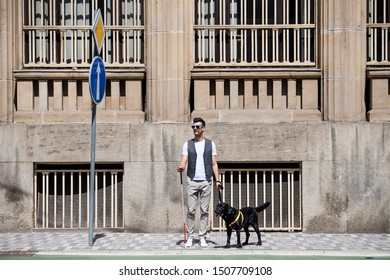 Young blind man with white cane and guide dog standing on pavement in city.
