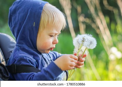 Young blond boy blowing dandelion seeds.