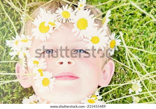 Young Blond Boy with a Daisy Crown Lying in the Grass