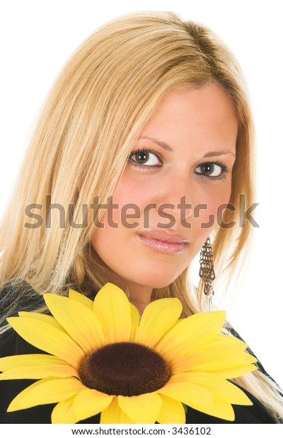 Young blond female beauty with sunflower, isolated on white