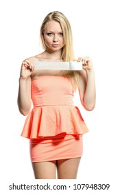 young blond girl with adhesive tape