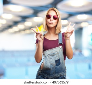 young blond girl happy expression