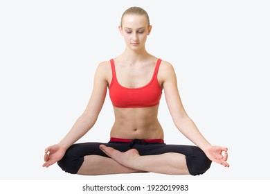 young blond hair woman in yoga pose siddhasana isolated on white background