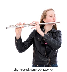 young blond long haired pretty teen girl with flute in studio against white background