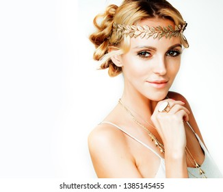 young blond woman dressed like ancient greek godess, gold jewelry and fashion makeup, people isolated on white background