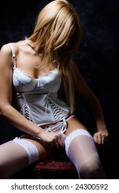 young blond woman in lingerie