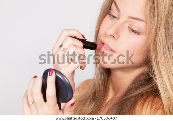 young blond woman with lipstic