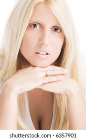 young blond woman portrait on white