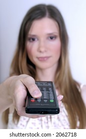 young blond woman with a remote control