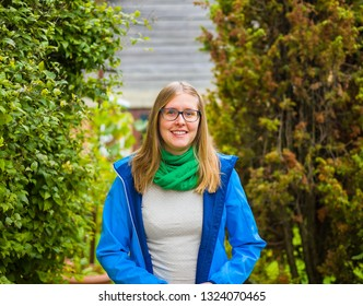 Young blond woman from Transilvania spring outdor walking .