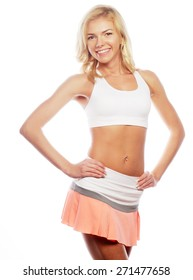 young blond woman wearing sports clothes, isolated against white background