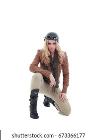 young blonde adventure  woman in a steampunk outfit, action hero pose. isolated on white background.