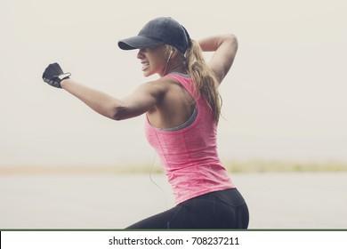 Muscle blonde with baseball big stick