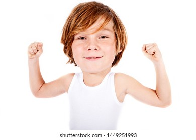 young blonde boy with big head flexing his muscles