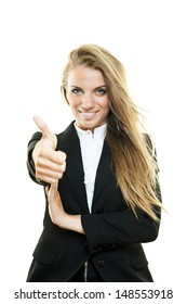 "Young blonde business woman ""ok"" gesture on white background"