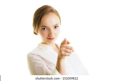 Young blonde businesswoman pointing, confident, half body, isolated on white, studio shoot.
