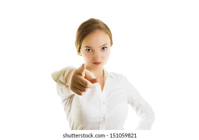 Young blonde businesswoman pointing, confident,left hand on hips,  half body, isolated on white, studio shoot.