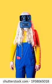 Young blonde caucasian woman wearing 3d viewer as a festival mask