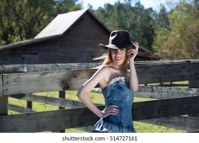 Young Blonde Female Wearing Black In Outdoor Shoot