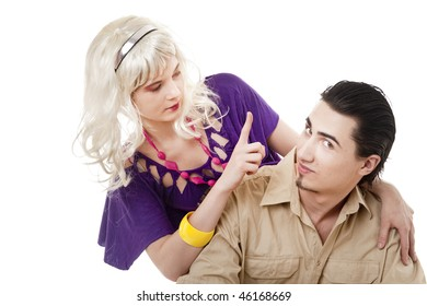 Young blonde girl drawing attention of her boyfriend