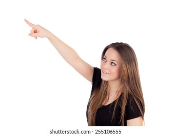 Young blonde girl pointing with the finger isolated on a white background