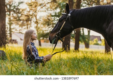 Young blonde girl stroking a brown horse.