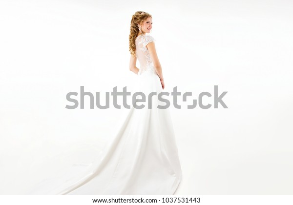 Young Blonde Girl White Wedding Dress Stock Photo Edit Now