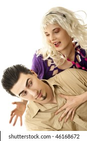 Young blonde with her boyfriend against white background