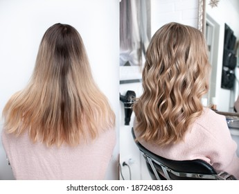 Young blonde woman before and after visiting a beauty salon with hair coloring and cutting