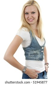 young blonde woman over white background