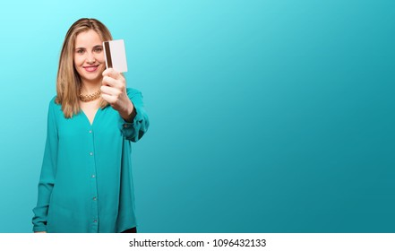 young blonde woman with pink lips with a credit card. pay or money concept