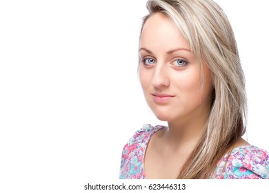 young blonde woman portrait looking at camera