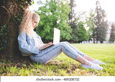 young blonde woman sitting ont he grass using notebook leaning against a trunk in a city park, in backlight - technology, multitasking, social network concept