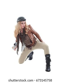young blonde woman in a steampunk outfit, holding a gun, action hero pose. isolated on white background.