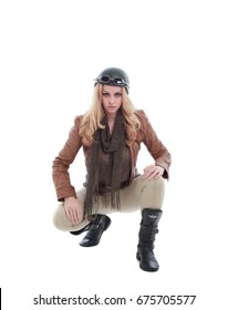 young blonde woman in a steampunk outfit, action hero pose. isolated on white background.