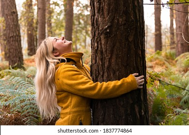 Young blonde woman in yellow coat hugging a tree in the forest and looking up to the tree top