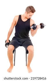 young bodybuilder doing exercise isolated in white