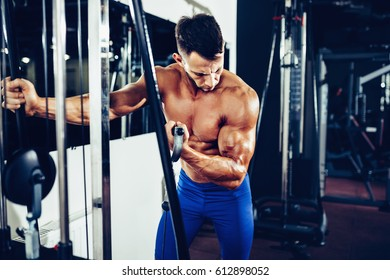 Young Bodybuilder Doing Heavy Weight Exercise For Biceps