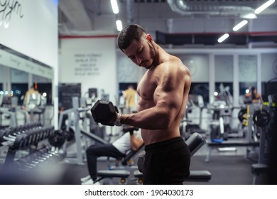 Young bodybuilder working out with dumbbells weights at the gym