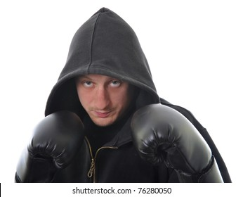 Young boxer in hood isolated on white background