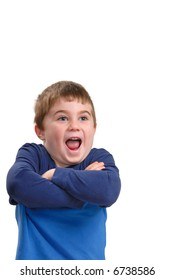 Young boy with arms crossed and excited expression, isolated on white